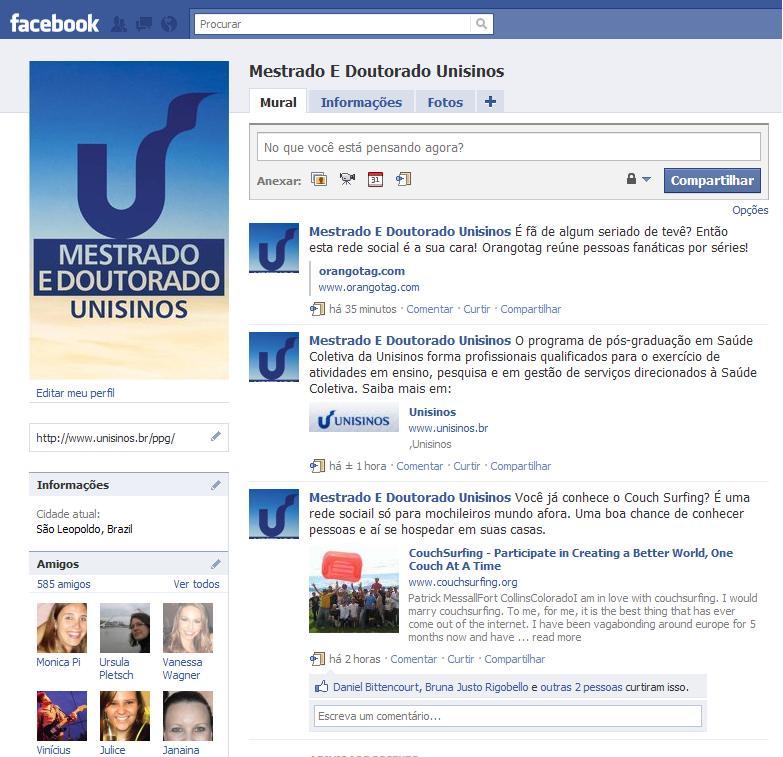 Mestrado e Doutorado da Unisinos nas redes sociais.