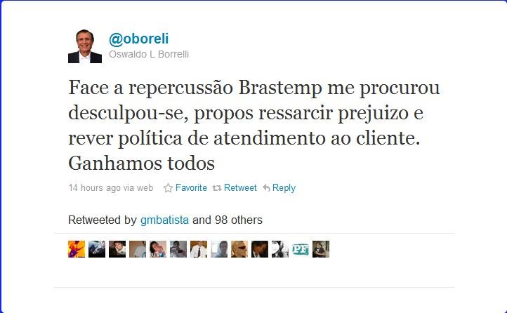 Cidadania digital caso @oboreli x @brastemp