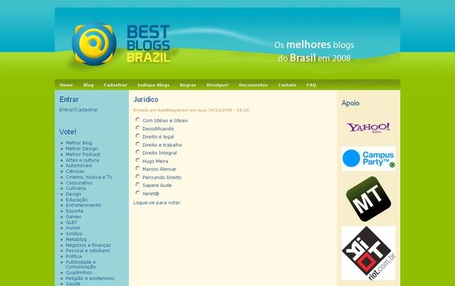 Como votar no DeT para o Best Blogs Brazil 2008